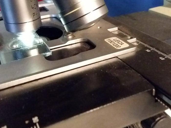 Microscopio per analisi contenuto filtro condizionatore